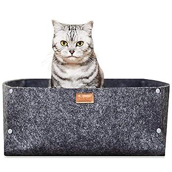 PiuPet® Lit de chat avec coussin, Convient comme couverture pour les petits chiens, Lit de chat de haute qualité en gris, Chaleureuse grotte de chat, Panier douillet pour chaton