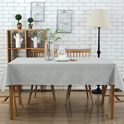 Morbuy Rectangle Mantel de Lino de algodón Antimanchas, Color Puro Mantel Rectangular de para el Restaurante del Hotel de casa Restaurante, Algodón Multicolor Decoración (130 * 180cm, Gris)