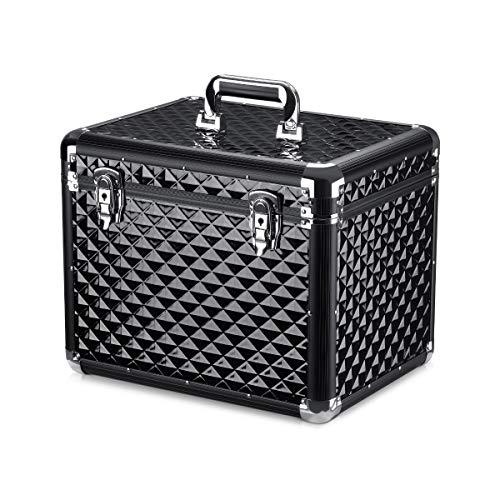 Navaris Caja para Accesorios para Caballos - Baúl de Aluminio para almacenaje y Transporte Herramientas para Limpieza de Caballo - Negro Metalizado