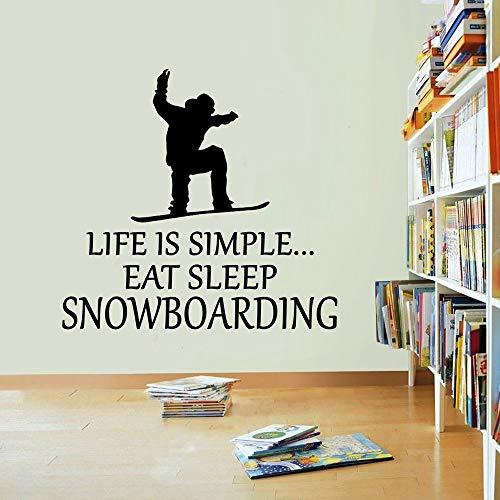 WHFDRHQT Muurtattoo Muursticker Das Leben ist einfach Snowboard Vinyl Sticker Eten Slaap Winter Ski Sticker Muurkunst 550mm x 550mm roze
