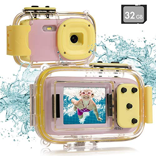 """Kids Underwater Camera, Waterproof Digital Camera, 8MP 1080P HD Kids Video Toy Camera with 2.0""""IPS Screen, 32GB SD Card, Waterproof & Silicone Case, Lanyard, Camcorder for Boys Girls Age 3-12 (Pink)"""