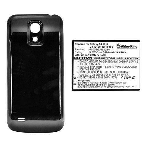 Akku-King Power-Akku kompatibel mit Samsung EB-B500BE, EB-B500BU - 3800 mAh Li-Ion Akkudeckel schwarz - für Galaxy S4 Mini, S4 Mini LTE, i9190, i9195