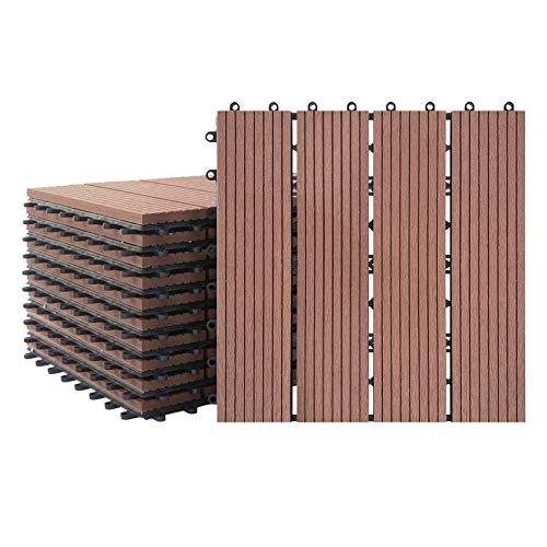 Aufun 22x Balkonfliesen Terrassen WPC Kunststoff klick Fliese Terrassendielen in Holz-Optik Zusammenbaubar Garten klick-Fliese ca. 2m²(30x30cm/Stück, Braun)