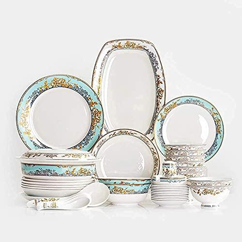 YLJYJ Vajilla de cerámica, Juego de vajilla de 56 Piezas, Servicio para 10 Personas, Juego de Cena Familiar, Estilo Vintage Royal Court, para EAS (Juegos de Cena)