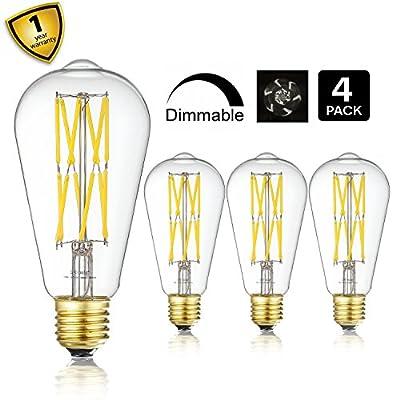LEOOLS Vintage LED Edison Bulb Dimmable 100W Equivalent Filament Light Bulb, 10W LED Antique Light Bulb, Neutral White 4000K, E26 Base, Squirrel-Cage Shape for Home Decor, 4-Pack.