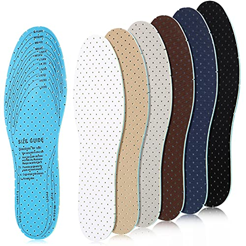 6 Pairs Breathable Insoles Inserts Ultra-Soft Cushioning Walking Comfort Double-Layer Latex Foam Insoles with Breathable Holes Fit in Any Shoe Unisex, Men 7-11 Woman 2-8 (Simple Colors)