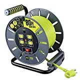 Masterplug 80ft Open Cord Reel with 4 120V / 13 amp Integrated Outlets and Thermal Overload Breaker