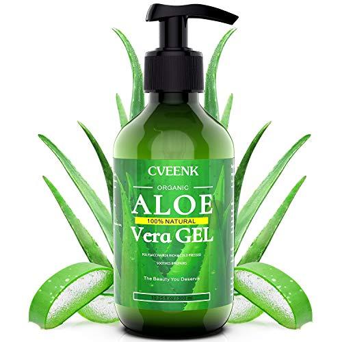 Aloe Vera Gel 300ml CVEENK Bio Aloe Vera Creme für Trockene Strapazierte Haut & Sonnenbrand Aloe Lotion After Sun Natürliche Feuchtigkeitspflege für Gesicht Haare und Körper