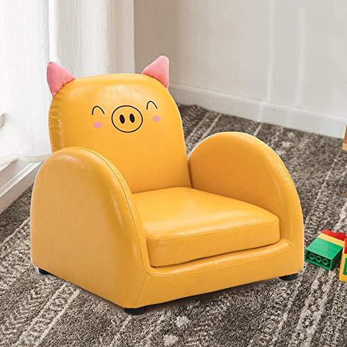 Asiento del sofá para niños Dibujos Animados niño niña Princesa bebé bebé Aprender a Sentarse en el Asiento del sofá Lectura Linda Tatami-Amarillo PU Piggy sofá reclinable