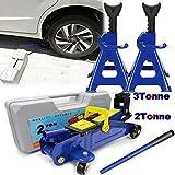 Huini 3 Ton Trolley Jack Stand + 2 Tonne Hydraulic Floor Jack Lift Car Van Jeep LiftingTool Kit
