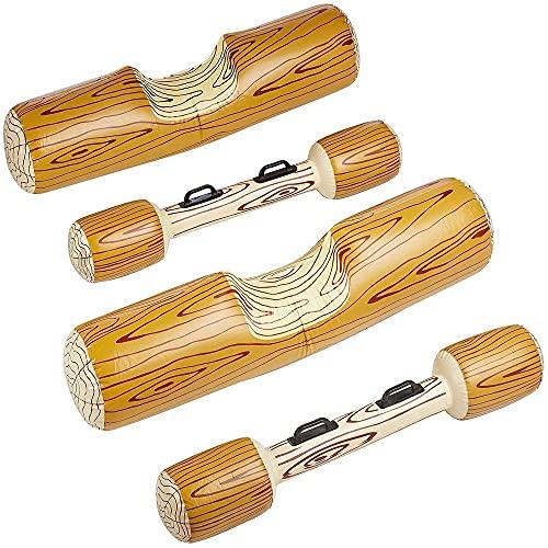 FANIER Piscina Playa Juego de Batalla Flotador Inflable Forma de Madera Flotador Juguete Inflable Jugar Colisión en Barco Piscina de Playa al Aire Libre Juguete, 4 Piezas