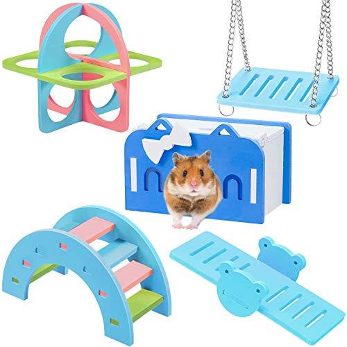 Skylety Juego de 5 Juguetes de Hámster Incluye Casa Puente de Arcoiris Balancín Columpio Colgante Escalera Juguetes de Ejercicio Físico para Hámster Mascotas Pequeñas Jaulas DIY (Rosa) (Azul)