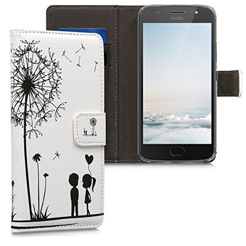 kwmobile Wallet Hülle kompatibel mit Motorola Moto G5S - Hülle Kunstleder mit Kartenfächern Stand Pusteblume Love Schwarz Weiß