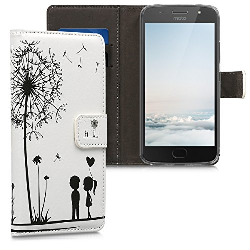 kwmobile Funda Compatible con Motorola Moto G5S - Carcasa de Cuero sintético niños y Diente león - con Tarjetero