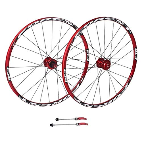 26/27.5 Zoll Berg Fahrrad Laufrad, Doppelwandig Schnelle Veröffentlichung MTB-Felge Abgedichtete Lager Scheibenbremse 8 9 10 Geschwindigkeit Rot (Color : B, Size : 27.5inch)