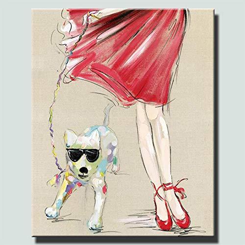 tzxdbh Modern Canvas Schilderen Een Koele Hond Met Een Meisje Olie Schilderen Op Canvas Wandschilderijen Foto Voor Woonkamer Muur Art Muurdecoratie Schilderij & Kalligrafie Van 30x40cm No Frame Pc3468