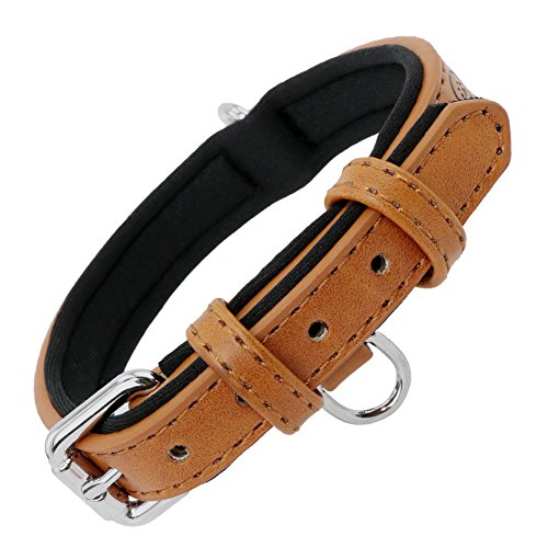 Grand Line Collar de Perro de Cuero Duradero Acolchado Suave con Perforador de Agujeros, Marrón(XS)