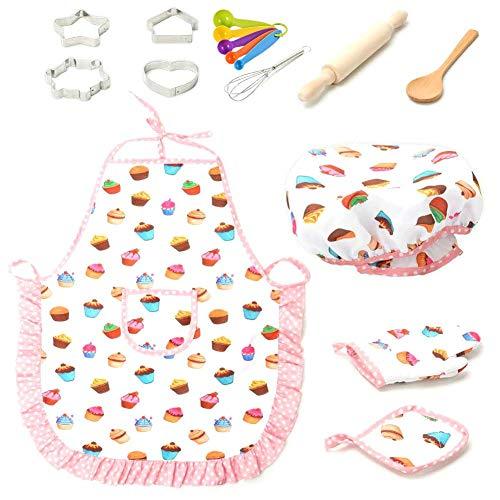 Luerme Komplette Kinder Chef Set Rollenspiel Küchenutensilien Backen Werkzeuge Kuchen Schürze Kinder Kochen Backen Spielzeug Set