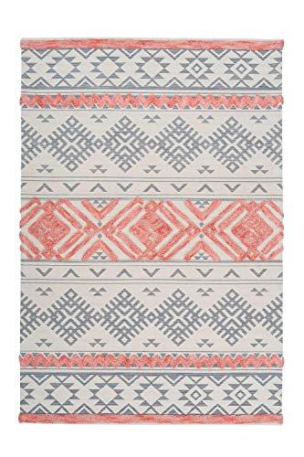One Couture Azteken Teppich 3D Wollteppich Aztec Design Modern Apricot Creme Grau Rosa Pink,...