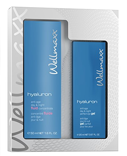 Wellmaxx Duo-Set Hyaluron Anti-Aging Day & Night Fluid Concentrate + Augengel - Geschenkset, Pflegeset