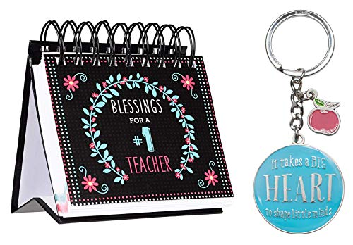 Christian Teacher Bundle Including Blessings for a #1 Teacher Perpetual Calendar and Blessings for a #1 Teacher in Blue - 1 Corinthians 16:14 Keyring in Tin