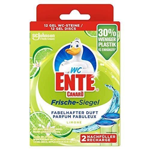 WC-Ente Frische-Siegel Nachfüller, körbchenloser WC-Reiniger, 12 Gel WC-Steine, Limone Duft, 5er Pack (5 x 72 ml)