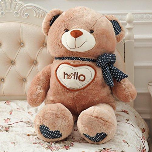 VERCART Grand Nounours Ours en Peluche XXL Teddy Bear Jouet Oursons Douce Cadeaux pour Bébé Enfant Ado Fille Garçon Marron 90cm