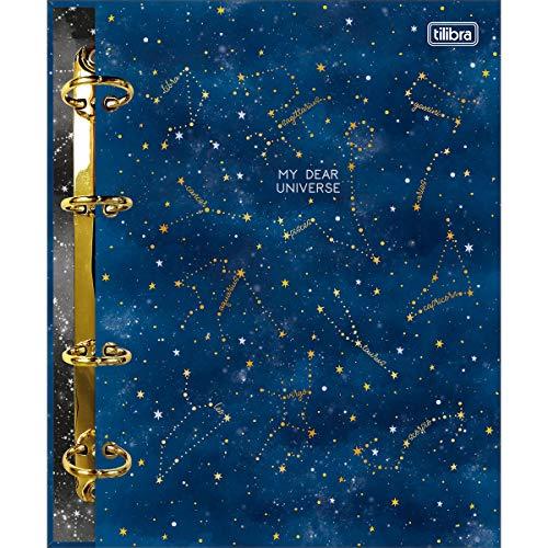 Caderno Argolado Cartonado Colegial, Tilibra, Magic, 313408, 17.7x24cm, Galáxia, Azul, 160 Folhas