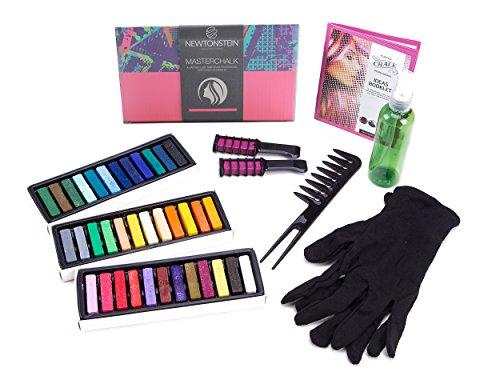 MasterChalk - Conjunto de 42 tizas de tinte para pelo temporal, 36 colores pastel y brillantes no tóxicos (lavables), 2 peines listos su aplicación, botella de spray de 100 ml, guantes suaves reutiliz