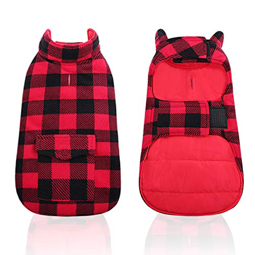 LETSQK Dog Winter Clothes Plaid Reversible Jackets for Small Medium Large Dogs Windproof Warm Vest Pets Cold Weather Coats with Pockets XS