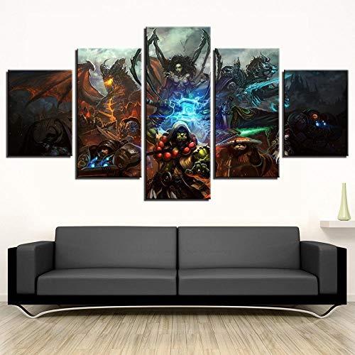 chgznb Leinwanddrucke HD-Druck 5 Stück Spiel Poster Malerei Leinwand Wandkunst Rahmen Dekoration Bild Home Decoration Wohnzimmer Leinwand Malerei Drucke auf Leinwand