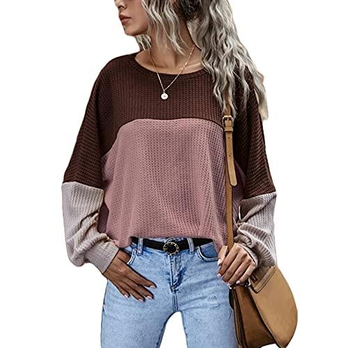 BEAUTYOO Suéter de manga larga casual de cuello redondo color bloque suéter flojo waffle sudadera moda túnica Tops, rosa, XL