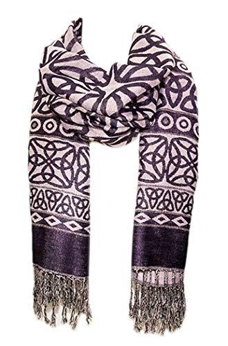 Celtic Weave Scarf, Irish Style Scarf - Purple