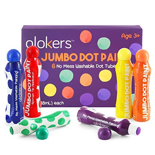 Glokers Jumbo Washable Dot Paint Markers for Kids (6 Colors)   Washable, No Mess Preschool Daub Tubes   Children Easy-Grip Art Dobber Dabbers   Great for Bingo Stamps and Accessories
