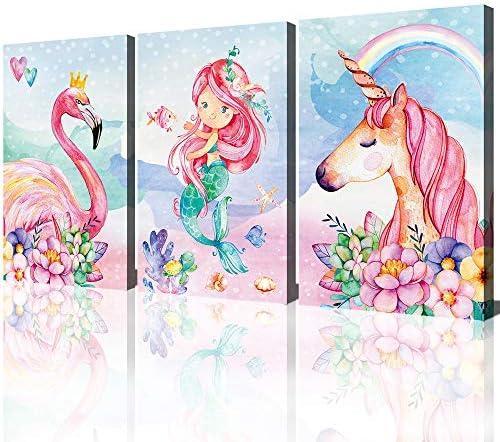 Unicorn Wall Decor Pictures Pink Girls Room Bedroom Bathroom Wall Art Cute Mermaid Flamingo product image
