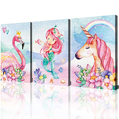 Unicorn Wall Decor Pictures Pink Girls Room Bedroom Bathroom Wall Art Cute Mermaid Flamingo Watercolor Painting Artwork Pink Rainbow Framed Canvas Print Nursery Kids Birthday Gifts 3 Pieces