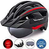 VICTGOAL Bike Helmet for Men Women with Led Light Detachable Magnetic Goggles Removable Sun Visor Mountain & Road Bicycle Helmets Adjustable Size Adult Cycling Helmets (Blue)