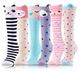 Product Image of the Girls Knee High Socks 6 Pairs Animal Pattern (3-12 Years Old, Animal A)