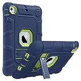 ULAK iPad Mini 1/2/3 Hülle, [Armor Serie] Stoßfest Schutzhülle mit Kickstand 3 in 1 Soft Silikon + Hart PC Tasche Standfunktion case Cover für Apple iPad Mini/Mini 2/Mini 3 - Marineblau + Lindgrün