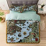 Aishare Store Duvet Cover Californai King, Antique Map Rivers and Land Full of Monsters Pirates Gian, Ultra-Soft Brushed Microfiber - Hypoallergenic, Easy Care, Wrinkle Resistant