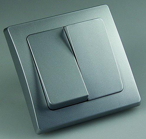 DELPHI Serien-Schalter, 250V~/ 10A, inkl. Rahmen, UP, silber