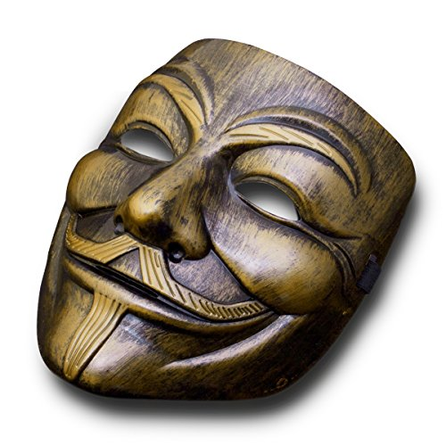 V wie Vendetta Maske Guy Fawkes Anonymous Replika Demo Anti Mask in Gold-Bronze