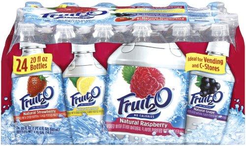 SunnyD Fruit 2o - Raspberry, Strawberry, Lemonade, Grape, 20-Ounce Bottles (Pack of 24)