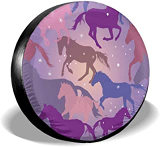 ENEVOTX Colorful Horses and Sparks On Purple SUV Tire Cover Soft Tire Cover Tire Cover Waterproof Uv Sun 14 - 17 Fit for Jeep Trailer Rv SUV and Many Vehicle