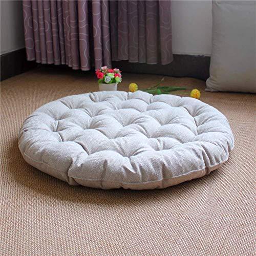 Z-Special Cojines para Exteriores, futón japonés, cojín de Suelo de Tatami de Lino Grande, cojín de Asiento de algodón con mechones Gruesos, cojín de Suelo Redondo de Color sólido