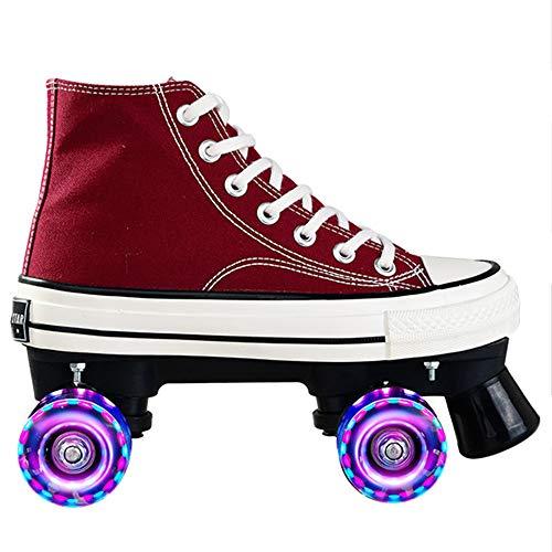 Rollschuhe Für Mädchen Rollerskates Damen Disco Roller Canvas Skates Erwachsene Leder Atmungsaktiv Retro Design,Red-40
