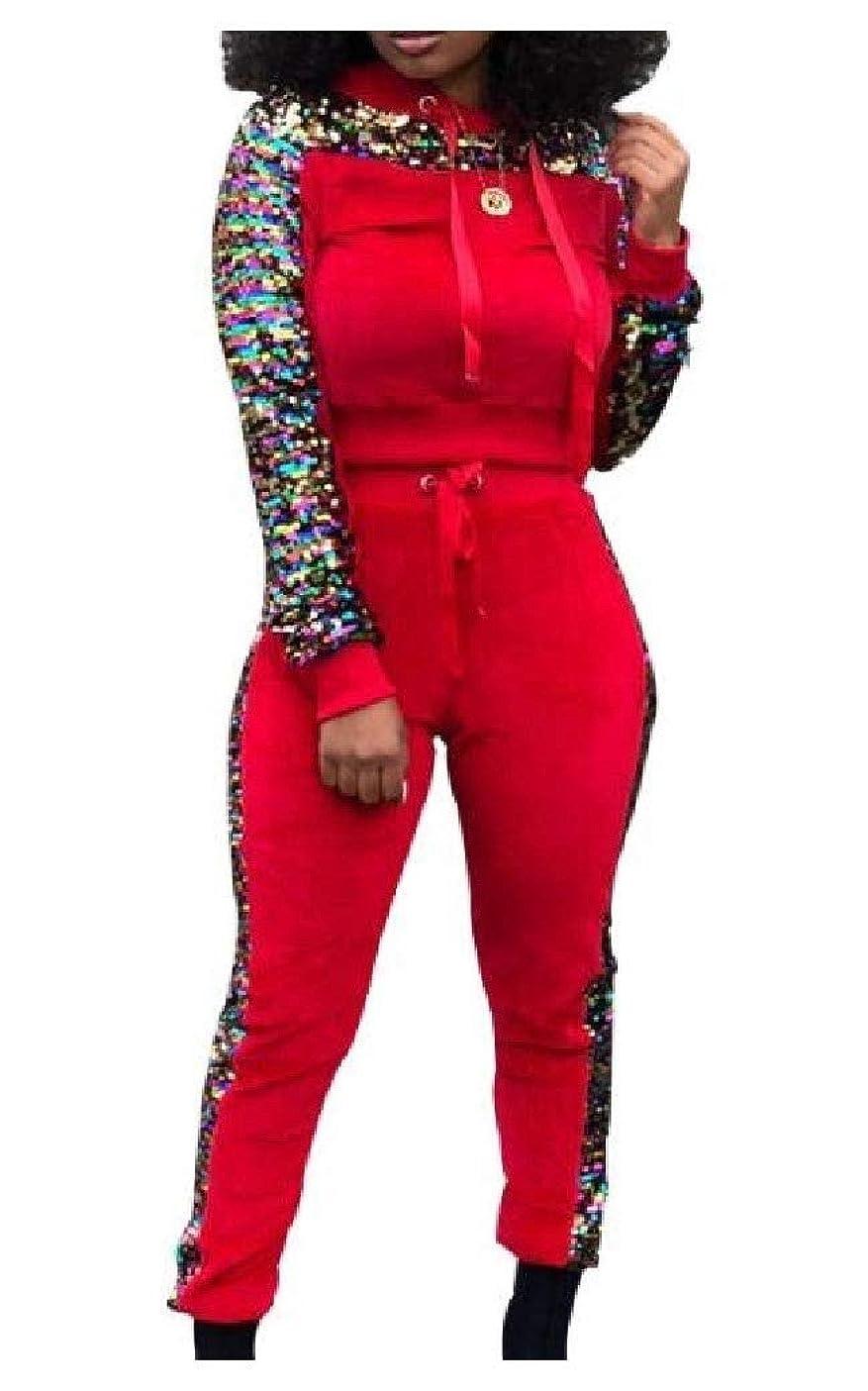 貪欲気質迷信Candiyer 女性ファッショントラックスーツのスパンコール冬はロングスリーブ2ピーストラックスーツを設定する