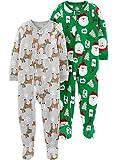 Simple Joys by Carter's Unisex bebé 2-pack Holiday Loose Fit Fleece Footed Pajamas multicolor Heather Grey Reindeer/Green Santa 3 - 6 Months