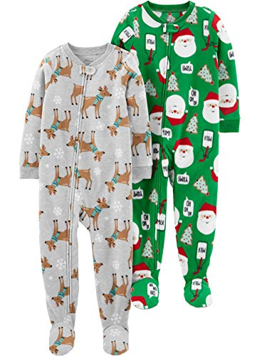 Simple Joys by Carter's Baby Toddler 2-Pack Holiday Loose Fit Flame Resistant Fleece Footed Pajamas, Heather Grey Reindeer/Green Santa, 5T