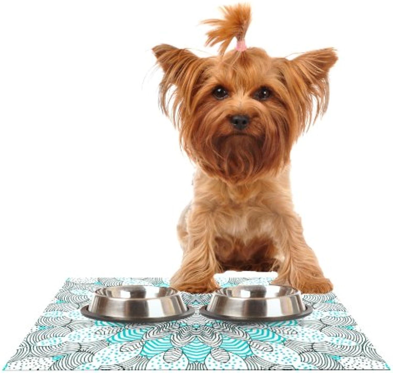 Kess InHouse Monika Strigel Dots and Stripes Mint  Feeding Mat for Pet Bowl, 18 by 13Inch